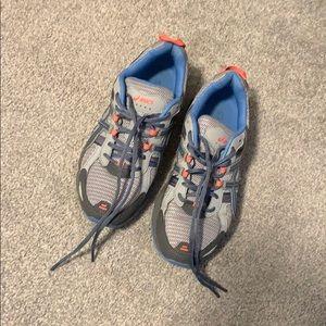 "Light Blue and Peach ""Asics"" Tennis Shoes"